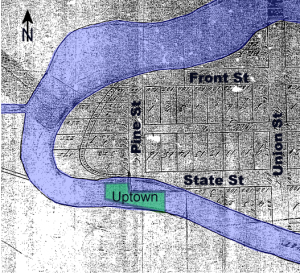 1859 Plat Map Showing the Boardman River Running Through Uptown Site